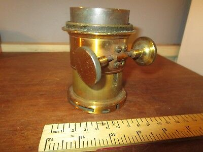 Antique Brass Petzval type rack + pinion Magic Lantern lens . See others  (2)