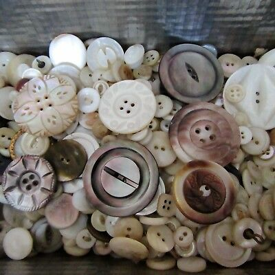 HUGE BUTTON LOT ANTIQUE Vtg MOTHER OF PEARL SHELL SPINDLE OVAL CARVED TINY-LG