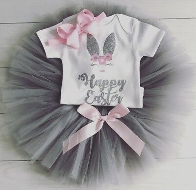 Luxury Baby Girls My First 1st Easter Outfit Tutu Skirt Vest Grey Pink Party Bow