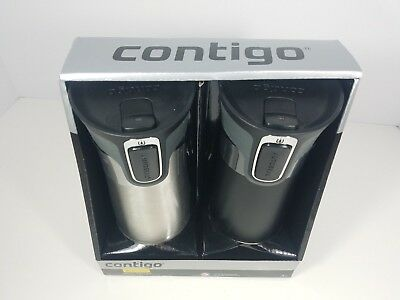 New 2 Pack Contigo Autoseal Grip 16oz Travel Mug Spill Proof Hot or Cold Drinks