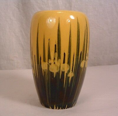 Antique 1890's Made In Japan Awaji Pottery Black & Yellow Iris In Relief Vase