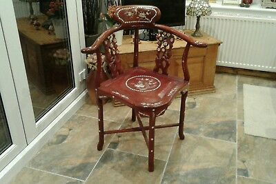 Antique Chinese Rosewood Mother of Pearl Carved Bird Corner Chair