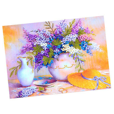 Ribbon Embroidery Kit Lilac Painting Kit Stamped Cross Stitch For Beginners