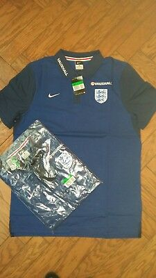 Nike official mens blue England Football Polo Shirt Size Large  New with tags
