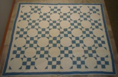 Vintage 1930's Antique Blue & White Square And Octagon Patterned Quilt