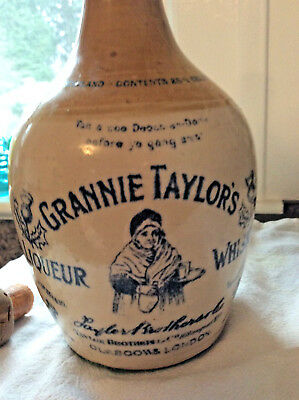 Stoneware advertising WHISKEY GRANNIE TAYLORS LIQUER JUG Picture LONDON Mint!