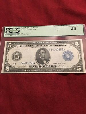 1914 * $5 Fr # 867a * Federal Reserve LARGE Note FRN * PCGS 40 Extremely Fine