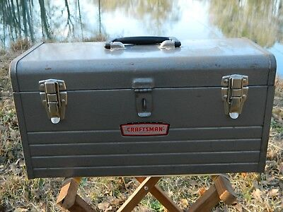 Vintage Sears Metal Tool Box 3 Latch with Top Tray Made In USA Craftsman 6500