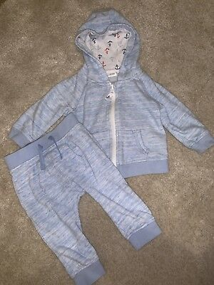 Baby Boys Next Light Blue Jacket And Joggers Set. Age 6-9 Months.