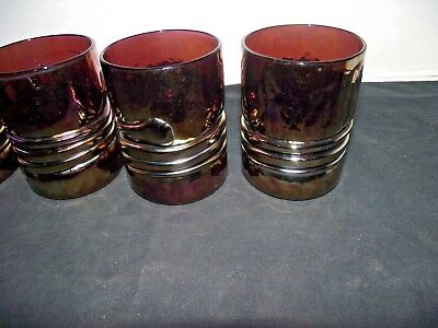 4 Vintage Signed ESTEBAN PRIETO Iridescent Studio Art On The Rock Glasses