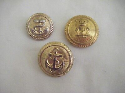 Australian Military Forces Naval Button.Stokes & Sons Melb 2 other naval.