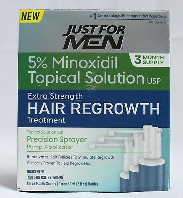 Just for Men 5% Minoxidil Extra Strength Hair Loss Regrowth Treatment (3 Months)