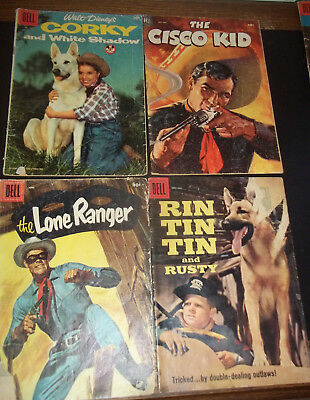 Lot of 4 Dell Golden Silver age Westerns -Lone Ranger Cisco kid Corky Rin tintin