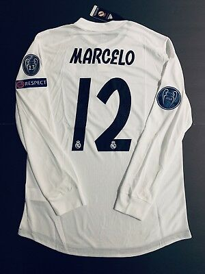 1033b2d42 MARCELO LONG SLEEVE Jersey Player Version Real Madrid Home Large ...