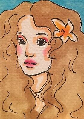 ACEO Frida ORIGINAL INKED DRAWING/PAINTING Girl Portrait Marker Illustration