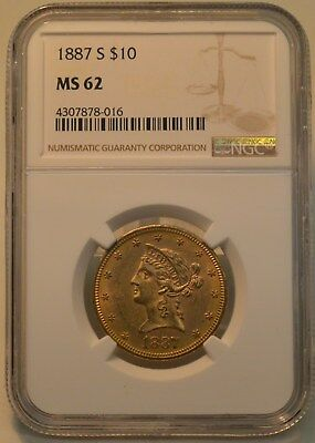 1887 S NGC MS62 $10 Liberty Head Gold Eagle. San Francisco Mint Gold Coin