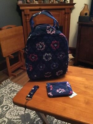 Vera Bradley ELLIE FLOWERS LUNCH BUNDLE ,DOUBLE,KEYCHAIN & LUNCH BUNCH NWT