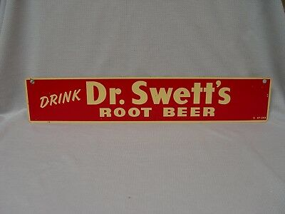 """Drink Dr. Swett's Root Beer Soda Advertising 15.75"""" Strip Sign S47-243"""
