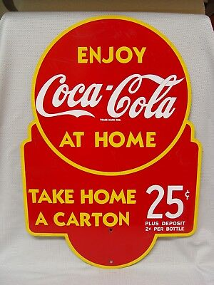 Vintage Coca-Cola Take Home A Carton 25 Cents 2 Sided Advertising Coke Rack Sign