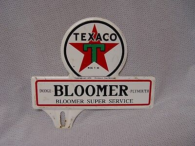 Texaco Gas Station BLOOMER SUPER SERVICE Dodge Plymouth License Plate Topper