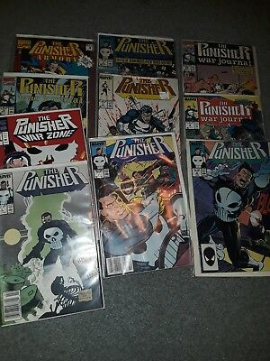 The Punisher Marvel Comics lot of 10 #3,4,6,17 plus #1 Warzone, Journal & Zone!