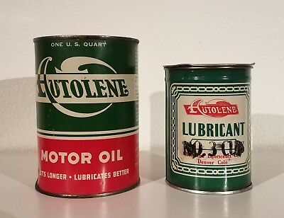 Vintage Autolene Quart Oil Can And Autolene Grease Can