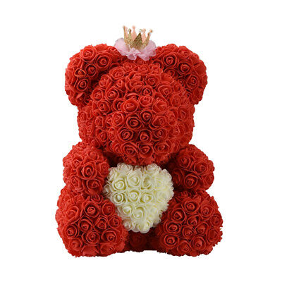 Big Red Teddy Bear Rose Flower Heart Artificial Gifts for Women Valentine's Day