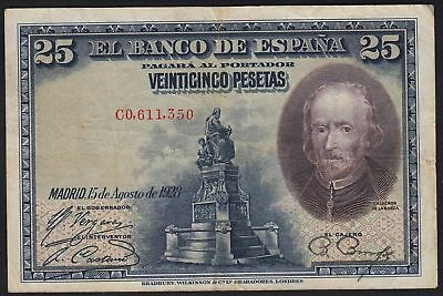 1928 25 Pesetas Spain Vintage Paper Money Banknote Currency Old Antique Spanish