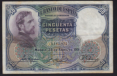 1931 50 Pesetas Spain Vintage Paper Money Banknote Currency Rare Antique Spanish