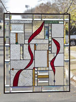 "• ASTONISHING BEAUTY • -Beveled Stained Glass Window Panel • 25 ½"" X 23 ½"""