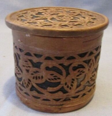 Vintage Antique Carved Cutout Birchbark Round Covered Box