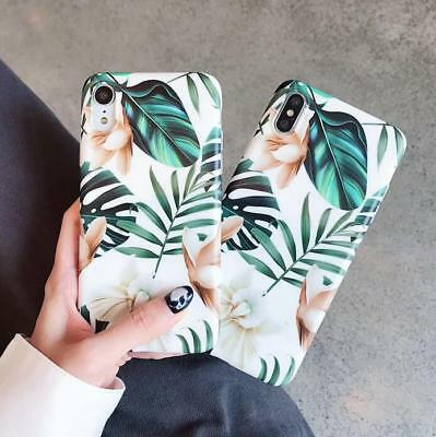 Leaf Flower Print Silicone Rubber Case for iPhone XS Max XR X 8 7 6S Plus Cover