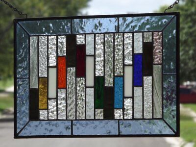 "•Colorific •Beveled Stained Glass Window Panel • 17 3/8 ""x 11 3/8"""