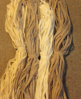 #6 Whites & Oats   200 Wool Strips for Primitive Rug Hooking