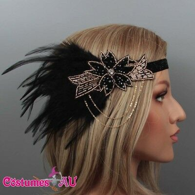 1920s Headband Black Feather Bridal Great Gatsby 20s Gangster Flapper Headpiece