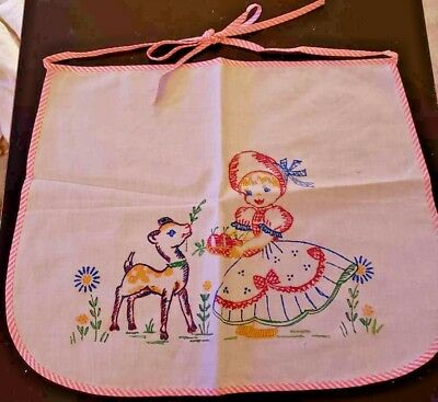 Cute Vintage Child's/Children's Apron--Girl with Apples Feeding Deer--Lot #15