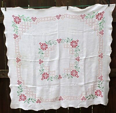 """Vintage Embroidered Cross Stitch Red Roses Tablecloth White Linen Flower 48""""x48"""""""