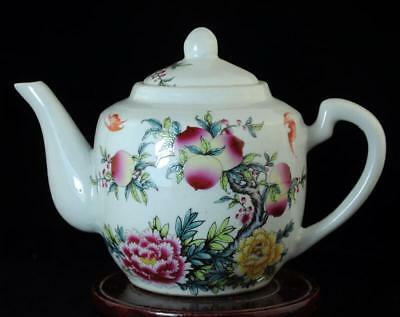 china old hand-made pastel porcelain hand painted bird & flower teapot b02