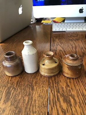4 Antique Stoneware Pottery Inkwell 1 w/Funnel Top Late 1800's Early 1900's