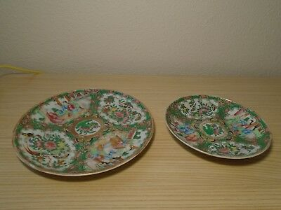 Unmarked Old Famille Rose Canton Export China Figural Plate, Dish