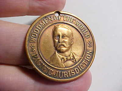 1905 Woodmen Of The World Brass Medal Portrait Of Pacific Lodge Founder Vg+