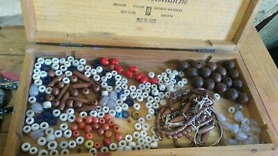 Antique VTG Trade Beads Red Coral Wood Czech Blue Glass Mixed Lot Parts/Repair