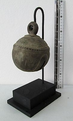 LARGE SIZE Old Karen Hill Tribe Bronze Round Elephant Bell & Stand 660g