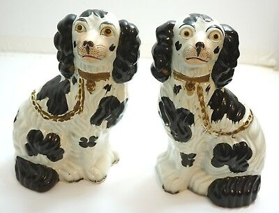 "Pair Of Antique C. 1850 Staffordshire 10"" Black & White Spaniel Dogs Embossed #2"