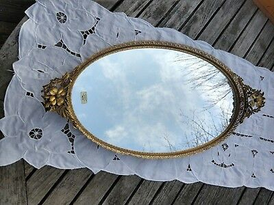 "24K Gold Plated Globe Mirrored Vanity Dresser Tray 22"" Ormulu Filigree Dogwood"