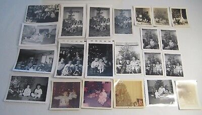 Lot of 39 Vintage Christmas Tree Photos Girls Dolls Photographs 30s 40s 50s 60s