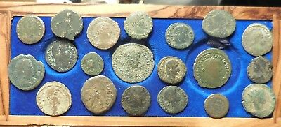 Lot of 20 Fine to VF Ancient Roman Coins: Largest 24 mm, Good Mix!