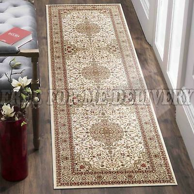 VALENTI MEDALLION CREAM TRADITIONAL FLOOR RUG RUNNER 80x300cm **FREE DELIVERY**