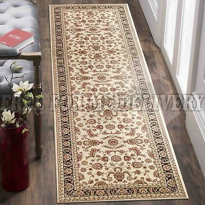 VALENTI ALLOVER BLACK RED TRADITIONAL RUG RUNNER 80x400cm **FREE DELIVERY**