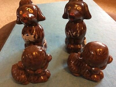 Vtg brown Poodles Lot of 4 Dogs MCM Mid Century Mama Daddy& Pups 1960s